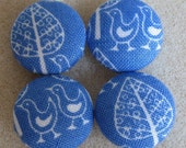 Fabric Covered Buttons        - Blue Folk Print - Birds and Trees