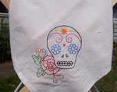 Day of the Dead Hand embroidered sugar skull tea towel