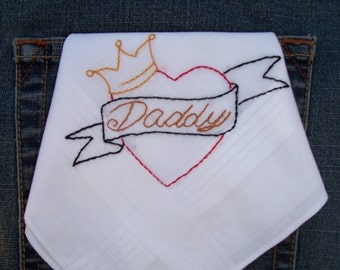 for Dad's Day Hand Embroidered Daddy Heart Hanky