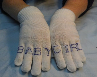 """Sale!!! """"BABY GIRL"""" knuckle tattoo winter gloves in WHITE"""
