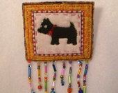 Quilted, beaded Scottie Dog pin with hand beaded fringe