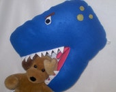 TRex pillow for your dinosaur slayer- blue dinosaur pillow with teeth in soft fleece- RRRRRrrrrr
