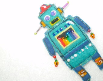 Rodney the ROBOT- blue beaded automaton- futurama favorite- Whymsies quilted pin brooch