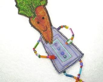 OOAK CARROT HEAD Vegetarian DOLL quilted beaded pin brooch- lavender-orange-green- BEADS