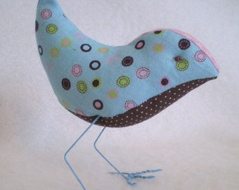 Blue, Brown and Pink dottie BIRD- ready for Summer birdie
