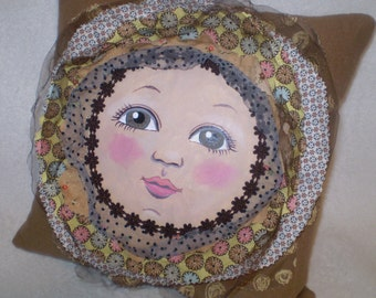 Sweet hand painted, hand made doll-face flower pillow in shades of Cappuccino and Mocha