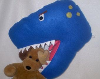 TRex pillow for your dinosaur slayer- blue dinosaur pillow with teeth in soft fleece- RRRRRrrrrr