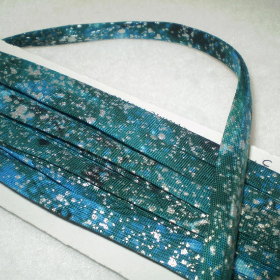 3 yards undersea color Double Fold handmade BIAS TAPE- silver splashes on blues, greens, turquoise