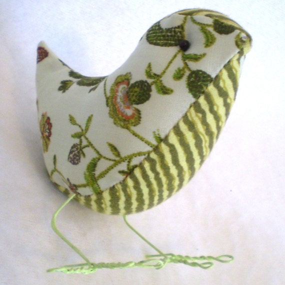Pale green and Olive BIRDIE with stripes and  flowers-little Tweetie