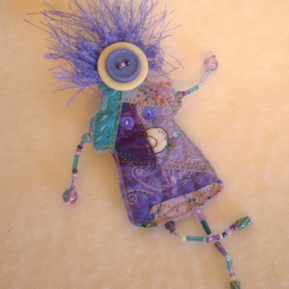 Violetta- Whymsies quilted beaded DOLL brooch pin- lavender-turquise-purple and white- Button face- yarn hair