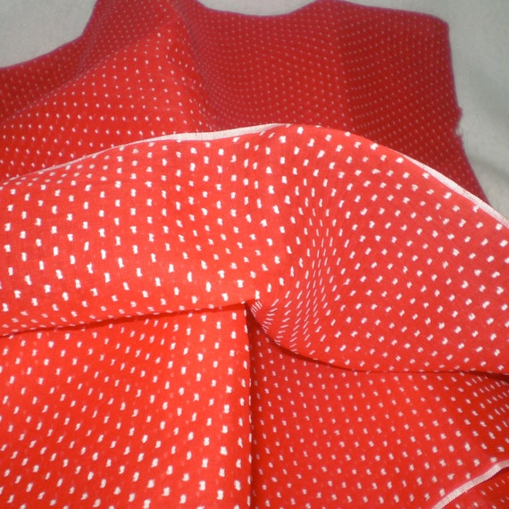 Vintage red and white DOTTED SWISS fabric-unwashed 4 2/3 yards has small hole- see description and photo