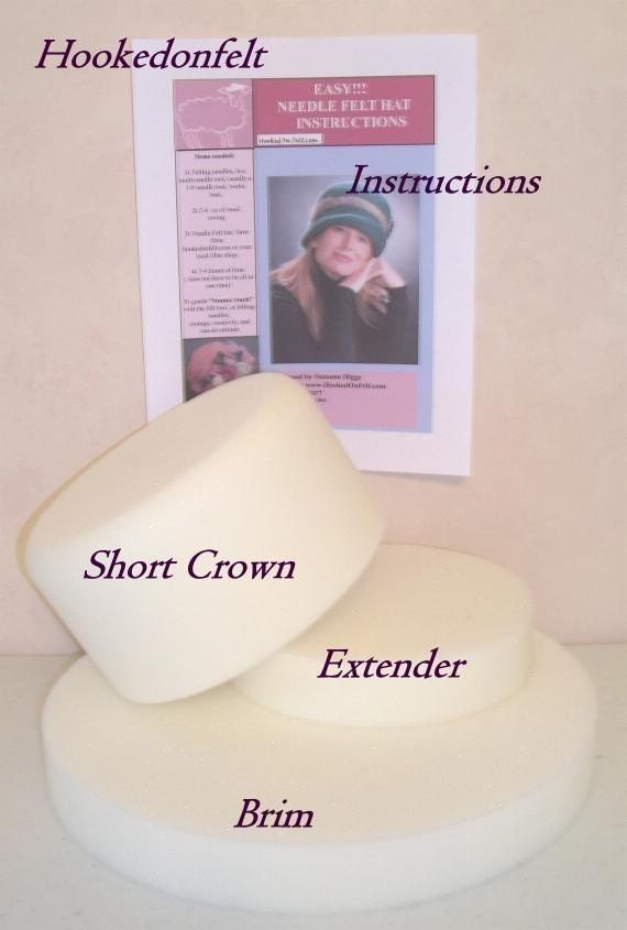 Needle Felt Hat Forms, New Design, Medium Hat Crown with Brim and instructions