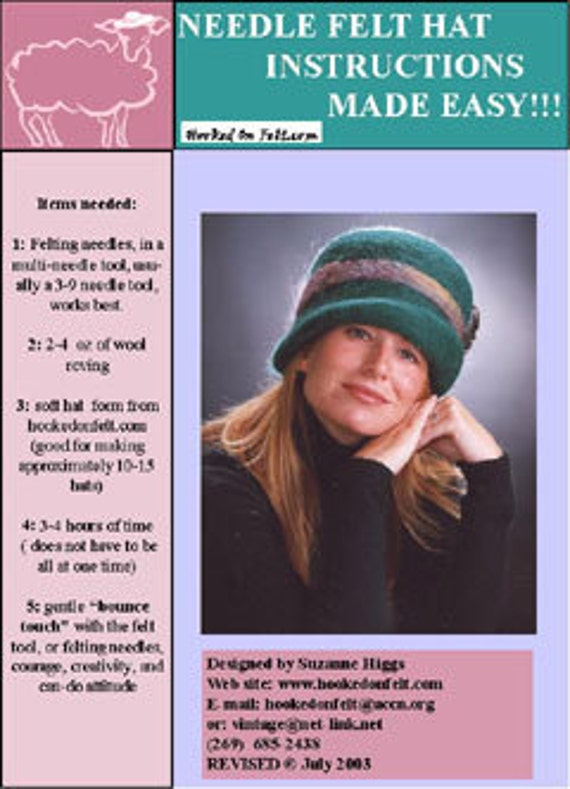 Needle FELT HAT Making Instructions in PDF form  .. no shipping