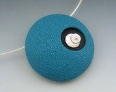 Retro mod polymer clay pendant necklace in teal