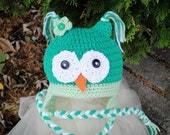 Baby Owl Earflap Hat Beanie 12-24 Months 1T 2T