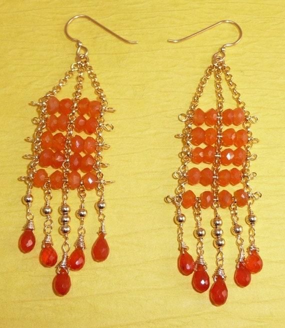 Koi earrings - juicy carnelian and gold-filled chandeliers
