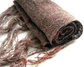 vestiges MADE TO ORDER Brown very light hand-woven unisex scarf / Echarpe tres fine tisse a la main, unisexe couleur marron