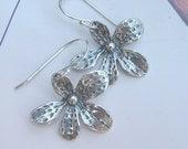 Asymetrical oxidized sterling silver flower earrings