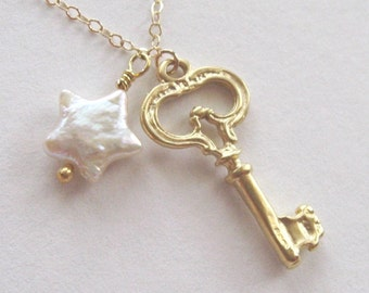 Gold Vermeil Key and star pearl GF necklace