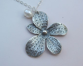 Large oxidized Asymmetrical flower and white pearl sterling silver necklace