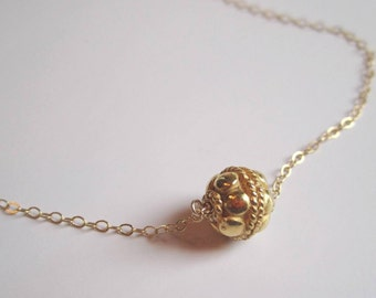 Dainty solid gold vermeil bead pendant on 14k gold filled necklace