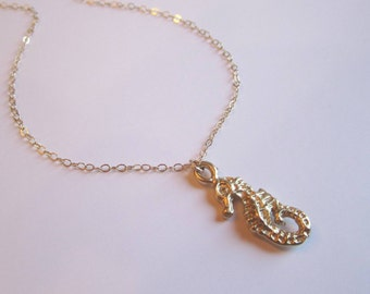 Gold vermeil sea horse on 14k gold filled chain necklace