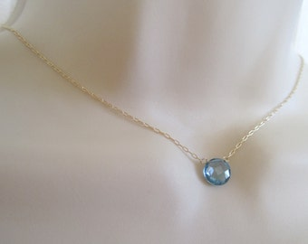 london blue topaz faceted coin pendant necklace