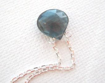 london blue topaz solitare necklace 10mm
