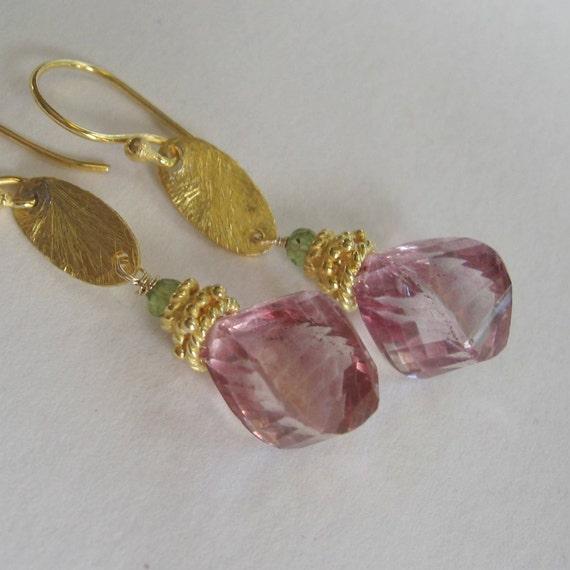 Berry pink tornado twisted step cut pink topaz earrings