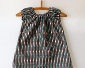 OOPS Sweet Little Dress - Modern Dots Blue and Brown -12M