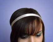 SILVER Headband Satin 1/2 Inch Skinny Soft Fabric Hair Wrap