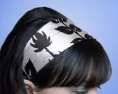 TAN with Brown Leaves Headband Silk 3 Inch Soft Fabric Hair Wrap