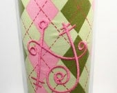 MLCB Stainless Travel Mug with Initial or Monogram - Pink and Green Argyle