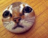 calico kitty face pin