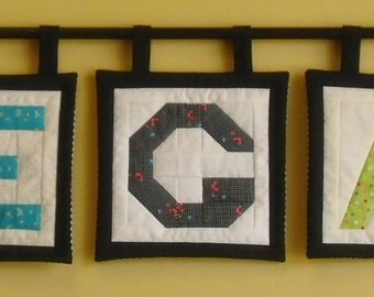 Custom Mini Block style Alphabet Letter and Number Quilts