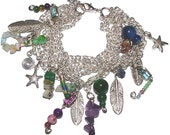 Multi-Chain Charm Bracelet with Assorted Charms and Beads
