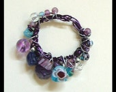 Small Purple Glass Bead Ring