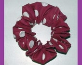Plum with Large Polka Dots Hair Scrunchie, Spring Ponytail Holder, Adult Large Hair Tie