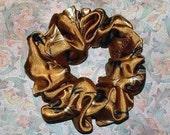 Golden Brown Bamboo Satin Hair Scrunchie, Hair Tie, Ponytail Holder