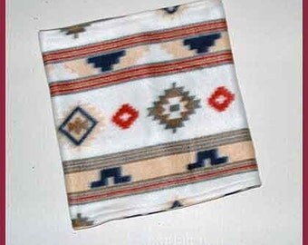 15 x 22 Inch, Southwest Fleece Neck Warmer, White Tube Scarf, Indian/Western Motif Scarflette