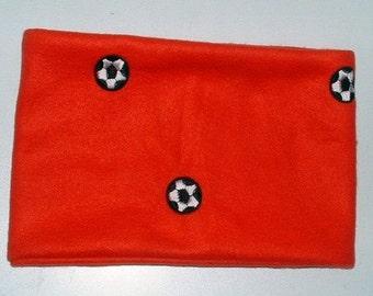 Embroidered Soccer Ball Fleece Neck Warmer, Red,Gaiter,Buff, Unisex, Sport, Football