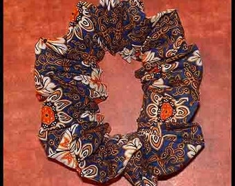 Moroccan Style Tile Hair Scrunchie, Exotic Batik Fabric Ponytail Holder, Hair Tie