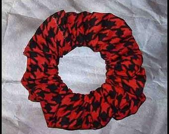 Houndsthooth Check Hair Scrunchie, Large Print Red/Black Hair Tie, Glen Plaid Ponytail Holder
