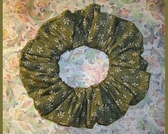 Tiny Leaves Green Hair Scrunchie, Hair Tie, Ponytail Holder