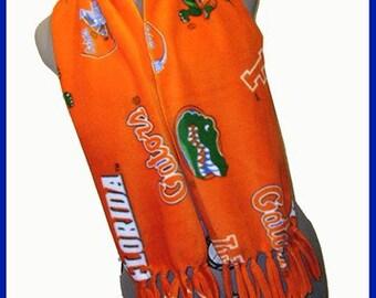 University of Florida Fleece Scarf, Gators Muffler, College Neck Scarf