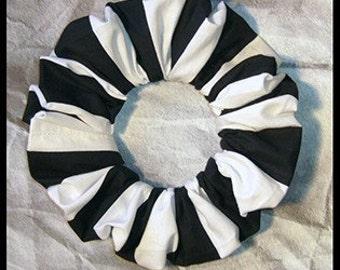 Black/White Stripe Hair Scrunchie, Fabric Ponytail Holder, Hair Tie