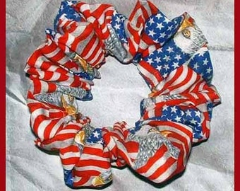 Patriotic Hair Scrunchie, Ponytail Holder, Holiday Hair tie, Majestic Eagles & American Flags