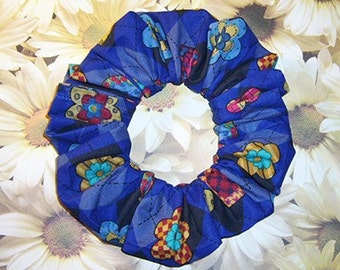 Retro Argyle Hair Scrunchie, Patterned Hearts and Daisies Ponytail Holder, Blue/Black/Lt Blue Combination Hair Tie