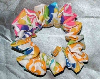 Crazy Confetti Hair Scrunchie, Multi-Image Hair Tie, Multicolored Ponyail Holder