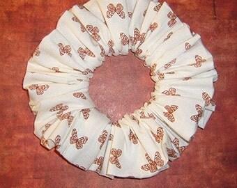 Tiny Brown Butterflies Hair Scrunchie. Nature Print Hair Tie, Butterflies on White Denim Ponytail Holder